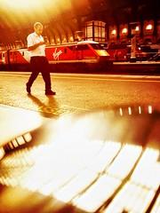 Passenger (sjpowermac) Tags: 91121 york railway station reflection coffeeshop passenger mobile convex chrome shine hst class91 texting hst40