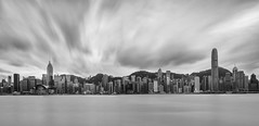 Hong Kong ([~Bryan~]) Tags: victoriaharbour harbour longexposure daytimelongexposure ndfilter panorama buildings architecture skyscraper cityscape urbanlandscape city urban density cbd commercial cloudmovement weather hongkong bnw blackandwhite monochrome