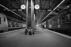 Stockholm Central (Michael Erhardsson) Tags: stockholm centralstation cst plattform uppsalapendeln tg svartvitt 2016