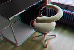 GISPEN Buro met stoel in 3D (wim hoppenbrouwers) Tags: gispen nai rotterdam museumhuis sonneveld sonneveldhouse 3d stereo anaglyph redcyan 1933 meubel chair stoel