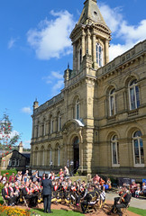 t't brass band outside t't Victoria Hall in Saltaire (Majorshots) Tags: saltaire bradford westyorkshire yorkshire saltairefestival victoriahall brassband