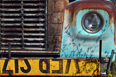 lookin' at you (Patinagal) Tags: truck vehicle abstract rust typography