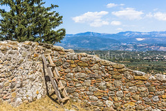 The stairs at the old wall (Ivanov Andrey) Tags: landscape sky mountain mountains hill hills hillside horizon cloud blue wall stone stones field valley sun shade midday summer temple arch grass dry yellow tree trees bush greece