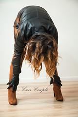 elle269 (Cuir Couple) Tags: cuir leder leather cuero veste jacket jupe skirt pantalon pant hosen mistress maitresse cuissardes matre master bondage bdsm cravache martinet