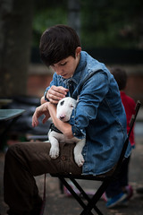 Dog love (Vincent Bertin) Tags: dog perro love sweet time blue woman hug girl france toulouse canon 100d