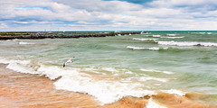 Lake Huron shore at Harrisville (hz536n/George Thomas) Tags: 2016 cs5 canon canon5d ef1740mmf4lusm michigan september copyright nik upnorth lakehuron lake wind waves seagull sky clouds water