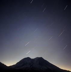 Mt. Rainier Dawn Trails (StarmanMike) Tags: stars dawn washington rainier wa mtrainier startrails mtbeljica beljica