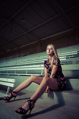 the empty stand (fuerst) Tags: portrait people woman cute girl beauty fashion stand portrt portraiture shooting frau mdchen tribne strobist