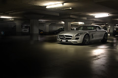 Dark Light (Stefan Riem Photography) Tags: light cars netherlands car amsterdam dark photography star mercedes garage parking engine lot fast super monaco stefan sound vehicle exclusive sounds sls amg gullwing riem