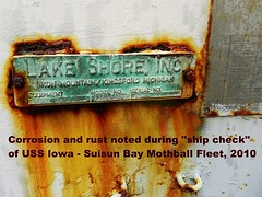 "USS Iowa (BB-61) damage while in the ""mothball fleet"" (Konabish ~ Greg Bishop) Tags: rot abandoned toxic water weather northerncalifornia rust peeling decay ships neglected rusty anchorage maritime pollution oxidation damage artillery battleship fleet crusty corrosion corroded polluted mothballfleet derelicts warships brackish ussiowa navyships suisunbay nationaldefensereservefleet 16inchguns ghostfleet usnavyships marad bb61 mainguns beniciacalifornia readyreservefleet suisunbaycalifornia lackofmaintenanceorupkeep 3806899063966112209780216217 16inchrifle"