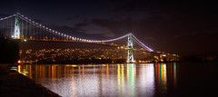Lions Gate Bridge (st. in ca.) Tags: ca bridge sea canada reflection water colors wall night vancouver america gate bc time britishcolumbia north columbia seawall lions british lionsgatebridge kanada expsure