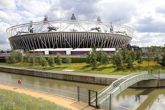 2012-07-19 The Stadium and old bridge across the River Lee 1 (Pondspider) Tags: park london river bench stadium east lee olympic stratford 2012 anneroberts annecattrell pondspider