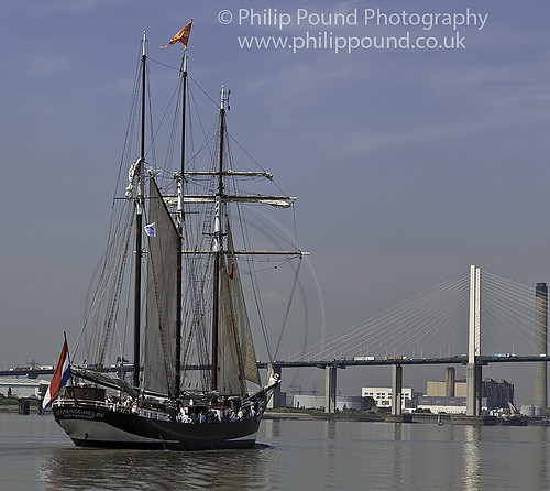 The Dutch 3 Masted Topsail Schooner Oosterschelde at the Dartford River Crossing as part of the tall ships Avenue of Sail on 25th July 2012.