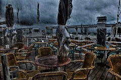 Summer 2012 (Lens Daemmi) Tags: holland beach netherlands rain cafe empty katwijk 2012 niederlande