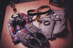 Going out tonight (55Laney69) Tags: camera old slr film fashion analog vintage maria hipster oldschool retro tokina clothes jeans faded vans fullframe canonae1 marymagdalene cameraporn vansofthewall canon50mmf14ef