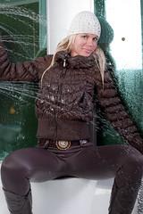 #192.2 (Wetlook with WetFoto.com) Tags: winter woman sexy wet water girl beautiful swimming hair fun shower photo model wasser adult boots free clothes jeans soak jacket gloves cap getwet tight splash baden dripping mdchen nass wetlook fullyclothed wetfoto