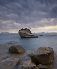 Cast in Stone - - - Bonsai Rock, Lake Tahoe (ernogy) Tags: california longexposure lake storm stone clouds landscape photography nevada tahoe lee bonsai filters bonsairock ernogy
