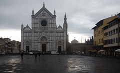 Santa Croce Piazza with the dome of the Pazzi Chapel visible at right