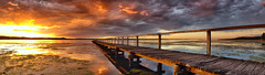 Soul Warming (Tim Poulton) Tags: ocean park wood old travel sunset sky lake seascape reflection green art water yellow skyline clouds reflections landscape pier exposure angle outdoor earth timber jetty fineart tripod wide sydney australia wideangle tourist panoramic cloudscape decayed poulton longjetty schneiderpctssuperangulonf2850mm