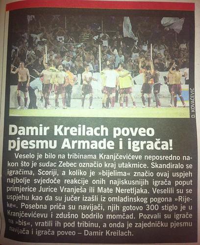 Kreilach poveo pjesmu (Novi List, 05.08.2012)
