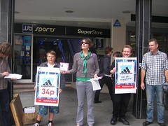 Exeter - informing the public about Adidas exploiting its workers (War on Want) Tags: shop protest exeter olympics adidas sweatshops workersrights