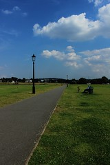 View in Blackheath (frankie091) Tags: park blue sky man london beautiful beauty vertical clouds canon bench amazing cool blackheath path awesome bluesky serenity serene clearsky 600d verticalphotography