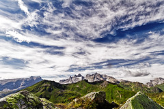 three towers and a spectacular sky (diamir8000) Tags: sky mountain alps clouds canon landscape geotagged austria view stones montafon bluesky berge vorarlberg golm threetowers sulzfluh rtikon raetikon drusenfluh dreitrme canoneos7d