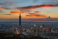 Taipei 101 Skyscraper at Sunset, Jiuwu Peak, Taipei City  August 19, 2012 (*Yueh-Hua 2013) Tags: camera sunset building tower architecture night skyscraper canon buildings eos fine taiwan 101  5d taipei taipei101 dslr        canonef2470mmf28lusm  101    canoneos5d    horizontalphotograph markins    l  taipei101skyscraper taipei101internationalfinancialcenter sirui tigerpeak   jiuwupeak photoclam ballheads n2204 pc44ns siruin2204 pc69up3 pg50cameraplate 2012august