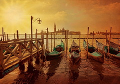 """Clouds come floating into my life, no longer to carry rain or usher storm, but to add color to my sunset sky (PhotoArt Images) Tags: venice sunset italy boats explore gondola venizia sunsetinvenice photoartimages"