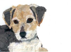 Chigirie Custom Pet Portrait Henrie (Robin Panzer Art Studio 33) Tags: original portrait rescue dog pet art robin animal collage paper studio rat 33 painted terrier torn custom panzer chigirie