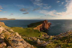 Neist Point (Philipp Klinger Photography) Tags: ocean uk greatbritain blue light sunset shadow red sea summer sky cliff cloud sun lighthouse seascape skye green nature water grass yellow rock clouds landscape island evening scotland highlands nikon rocks isleofskye unitedkingdom britain path united great north kingdom cliffs atlantic highland northsea gb philipp isle atlanticocean d800 klinger of philippklinger