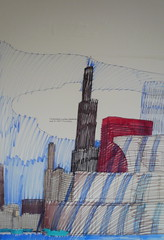 City (catheadsix) Tags: sky musician chicago architecture buildings artist drawing wesleywillis