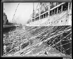 SS CERAMIC departing the White Star Line wharf at Millers Point, with crowds and streamers, 1920-1939