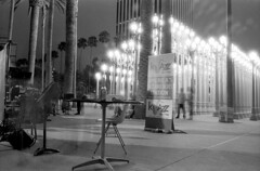 88.1 fm (Immane) Tags: longexposure blackandwhite bw film monochrome night 35mm landscape losangeles trix jazz 11 400tx d76 135 lacma supermulticoatedtakumar urbanlight 28mmf35 pentaxspotmaticii k2filter roll98 aristapremium400