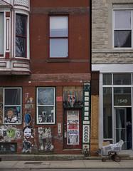 (J.G. Park (is catching up)) Tags: bricks chicago building illinois neighborhood stickers streetart graffiti cart facades windows pillar column detail painted sidewalk mail usps