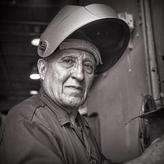 Rolleicord Art Deco Welder (rrunnertexas) Tags: rolleicord art deco artdeco 1933 vintagerolleicord kodak trix film bw welder workingman fx39 adox triotar triotarlens carlzeissjena carl zeiss