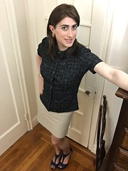 Dark blue blouse and tan skirt (SecretJess) Tags: crossdress cd crossdresser lgbt genderfluid gurl girly tgirl trans transvestite tg femme girls casual bigender girlslikeus