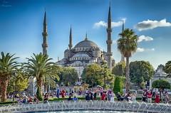 Blue Mosque... (Leo ) Tags: mezquitaazul bluemosque sultanahmetcamii gente luz minaretes palmeras cielo nubes azul color estambul turqua