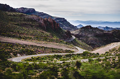 Old 66 (SaturnNyne) Tags: arizona route 66 route66 oatman highway desert landscape rocky cliffs rocks hairpin road curve clouds cloudy fog