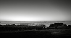 Town in the mist (lja_photo) Tags: city cityscape fog foggy mist misty early morning sunrise landscape landscapes viewpoint view from above remich luxembourg europe travel sky lights water river trees urban outdoor black white blackandwhite monochrome monotone