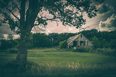Old shed in the country (michaelraleigh) Tags: landscape f28l serene vintage canon clouds trees summer 2035mm beautiful sad hdr secluded sun toodark outdoors green canoneos5dmarkii roots sky minnesota