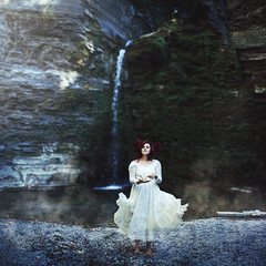 The Dreaming Pool (Furcifer07) Tags: dream dreaming imagination fog smoke dress red hair september pool water river waterfall stream woods forest glen watkins new york model white ghost ethereal concept conceptual portrait portraiture green rocks stones creek brook moss leaves cold book story pages canon 5d mark iii wgfg2016 flickr gathering lorenschmidt