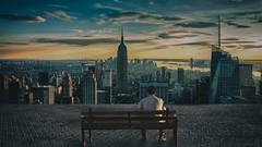 Waching (zai Qtr) Tags: manipulation art zaiqtr qatar digital man bench city sky photoshop