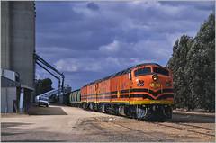 Well that worked out nicely....? (Bingley Hall) Tags: transport train transportation trainspotting rail railway railroad locomotive engine diesel clydeengineering emd 645e commonwealthrailways australia an anr australiannational southaustralia geneseewyomingaustralia gwa asr australiasouthernrailroad grain karoonda silos mallee clf7 railpage:class=60 railpage:loco=clf7 rpauclfclass rpauclfclassclf7 railpage:livery=39 streamliner bulldog