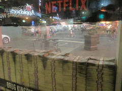 Narcos Bus Shelter Pile O Money AD 5229 (Brechtbug) Tags: narcos tv show bus stop shelter ad with piles slightly singed real fake money or is it 2016 nyc 09102016 midtown manhattan new york city 49th street 7th ave st avenue moola bogus