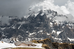 Clouds and mountain hut (valcker) Tags: bachalpsee lake hut cloudymountains alpinelandscape alps beauty trekking hiking landscape clouds mountain geo switzerland jungfrau events