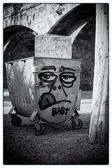 Angry dumpster (lucas2068) Tags: dumpster garbage trast contenedor basura angry enfadado cara face blackandwhite bw blancoynegro byn valencia spain espaa