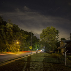 365-312 ( estatik ) Tags: 365312 365 312 september212016 sept weds wednesday 92116 night long exposure street river rd road route 29 south laceowrks lambertville nj new jersey hunterdoncounty panorama streak stream cars tail lights taillights traffic