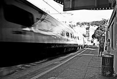 """WARNING!!! Passing Train At Platform One"" (giannipaoloziliani) Tags: highspeed biancoenero monocromo veicolo treno transito frecciabianca train railway blackandwhite nikond3200 monochromatic portraits nikocamera couple nikon italy speedy platform italia liguria stazione velocit landscape"