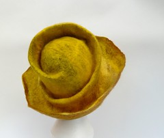(LucAndLex) Tags: brown wool hat yellow warm handmade unique ooak funky felt merino wearableart fiberart ecofriendly felthat